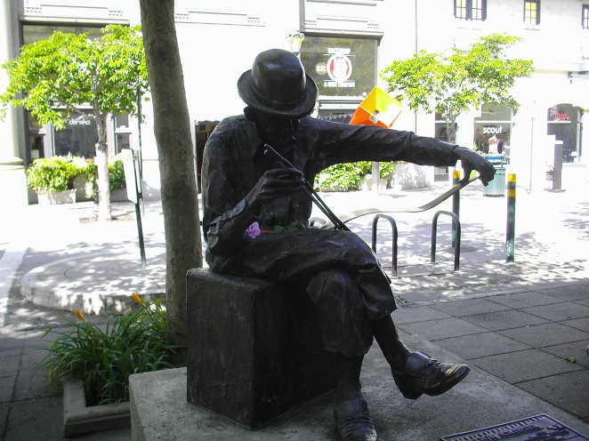 Bronze statue of Thomas Scribner (my grandfather) playing his musical saw - near the intersection of Cooper and Water streets in Santa Cruz, California