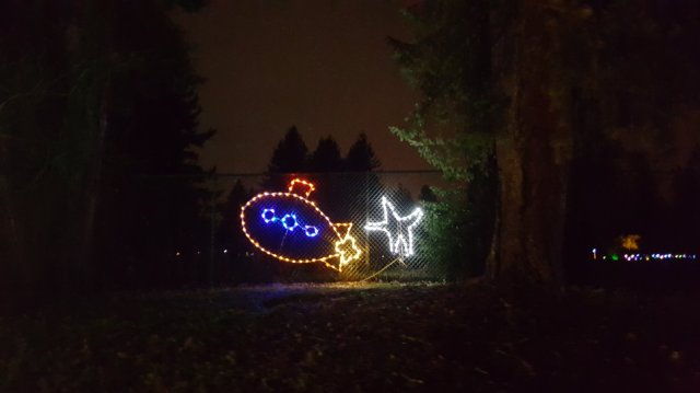 It's a Yellow Submarine in Christmas lights